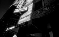 infrared black and white photo downtown building coffee shop