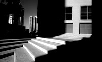 infrared black and white photo building steps downtown