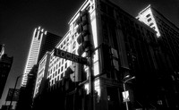 infrared black and white photo downtown building with stoplight
