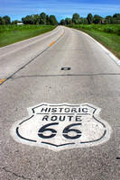 Historic Route 66 Highway Sign on Road