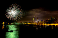 4th of july fireworks over Mississippi river and gateway arch from Eads Bridge st louis