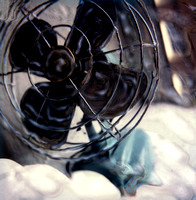 old antique retro fan color photo