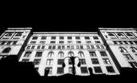 infrared black and white photo downtown building